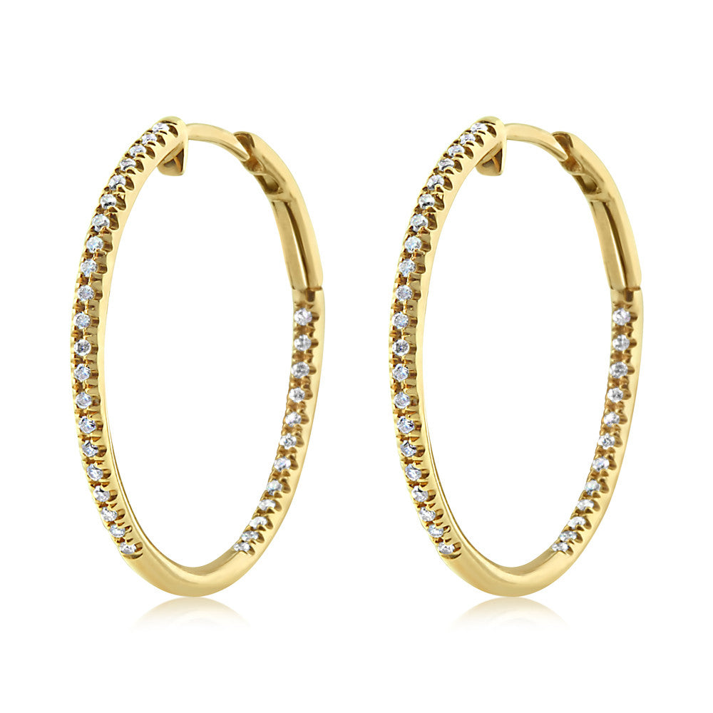 Diamond Hoop Earrings Medium Yellow Gold