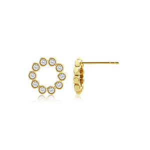 Diamond Bezel Circle Earrings Yellow Gold