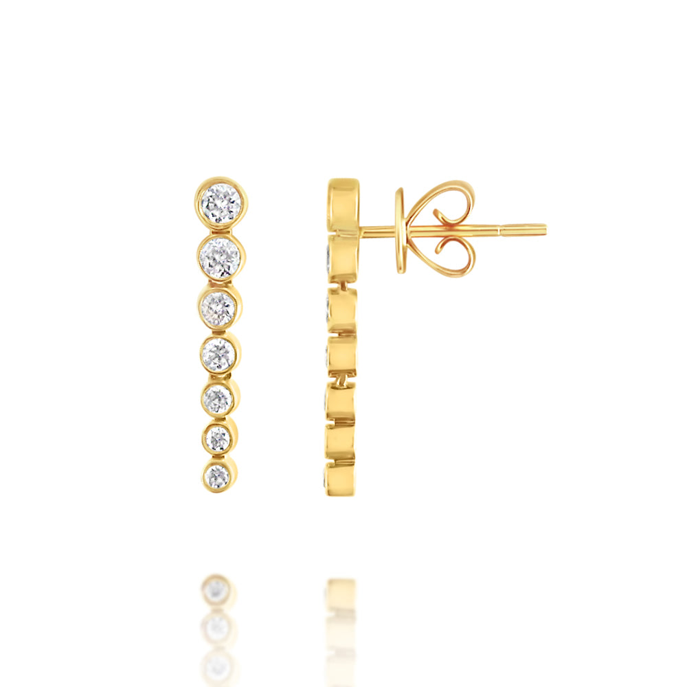 Bezel Set Diamond Drop Earrings Yellow Gold