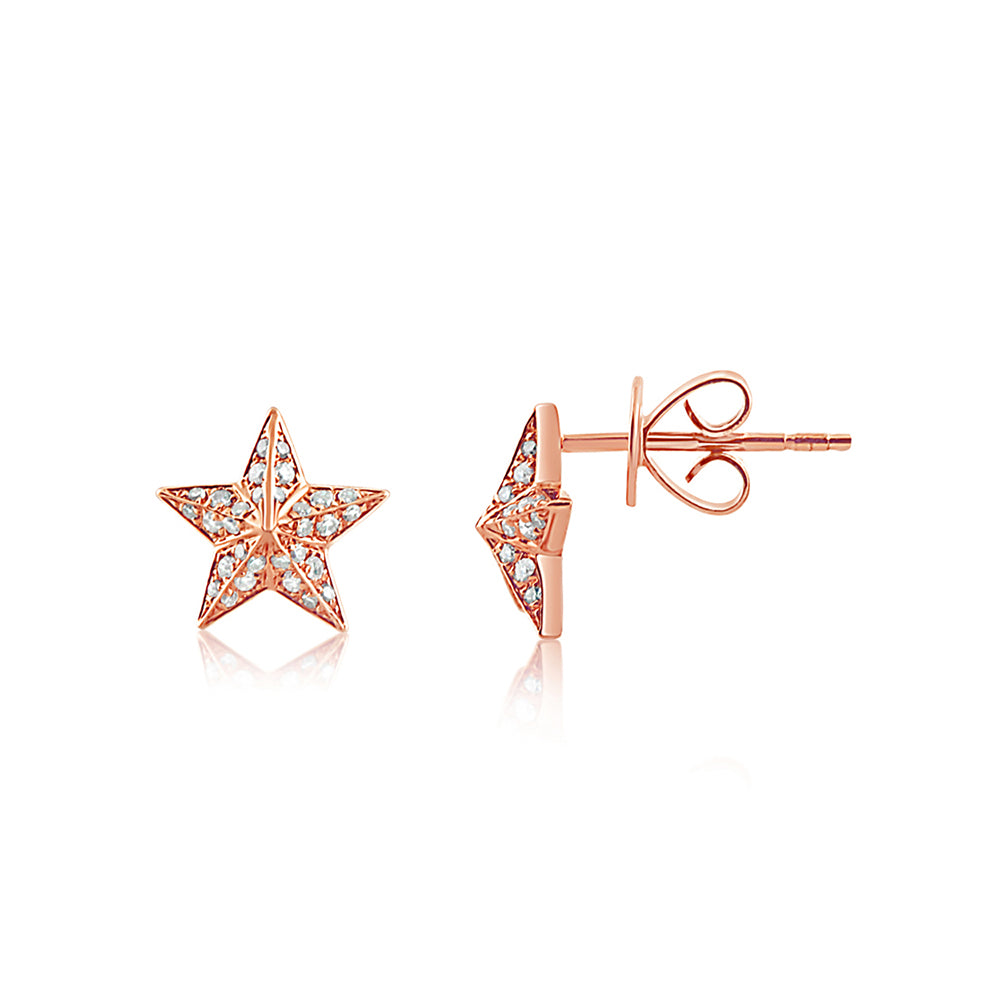 Diamond Barn Star Earrings Rose Gold