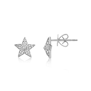 Diamond Barn Star Earrings White Gold