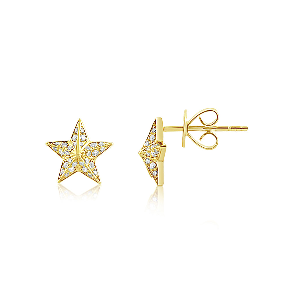 Diamond Barn Star Earrings Yellow Gold