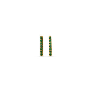 Emerald Bar Earrings Yellow Gold