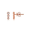 Three Diamond Bezel Earrings Rose Gold