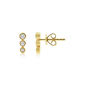 Three Diamond Bezel Earrings Yellow Gold