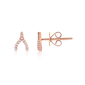 Diamond Wishbone Earrings Rose Gold