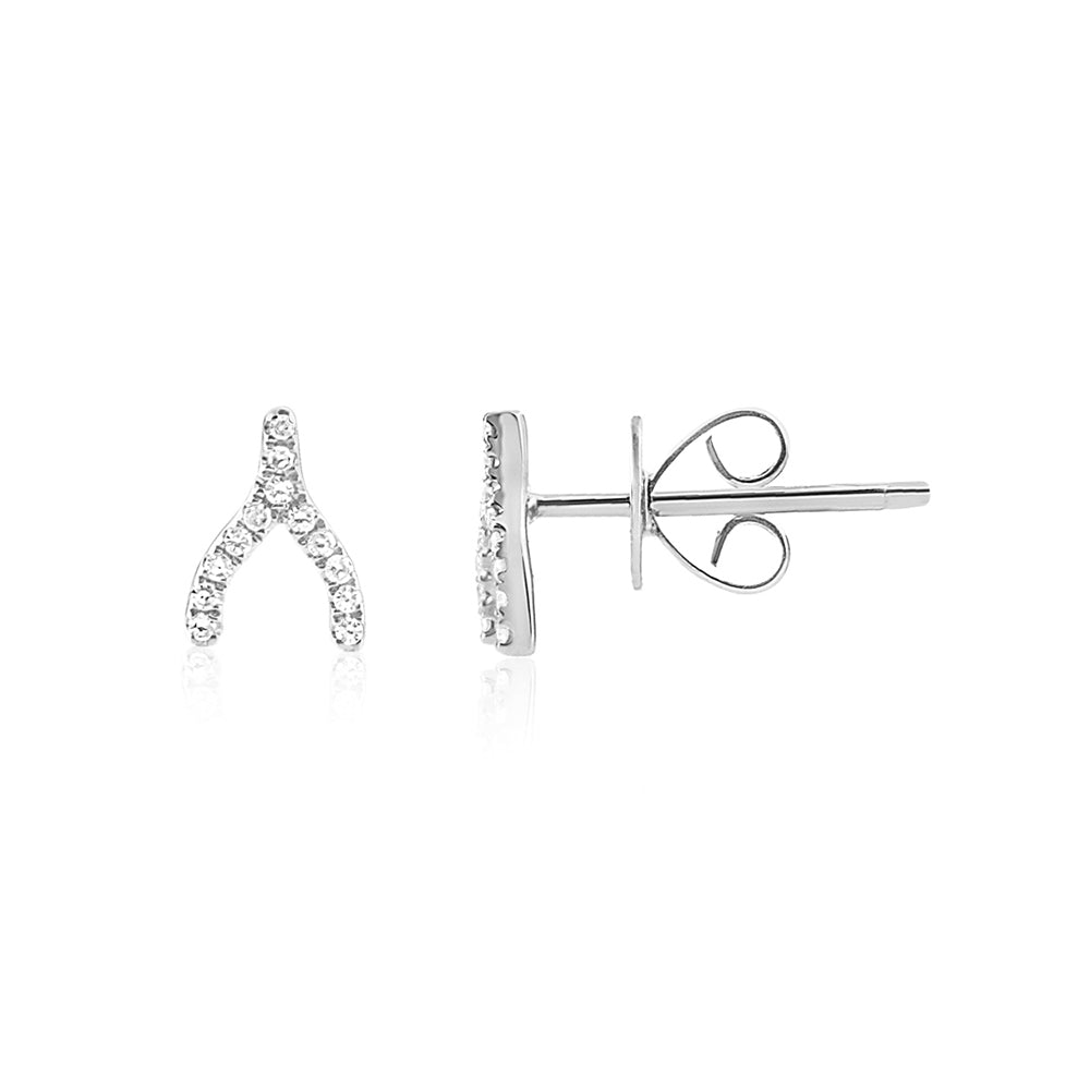 Diamond Wishbone Earrings White Gold