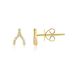 Diamond Wishbone Earrings Yellow Gold