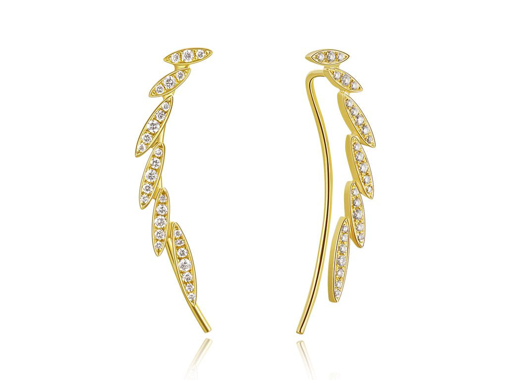 Diamond Leaf Ear Crawler Yellow Gold