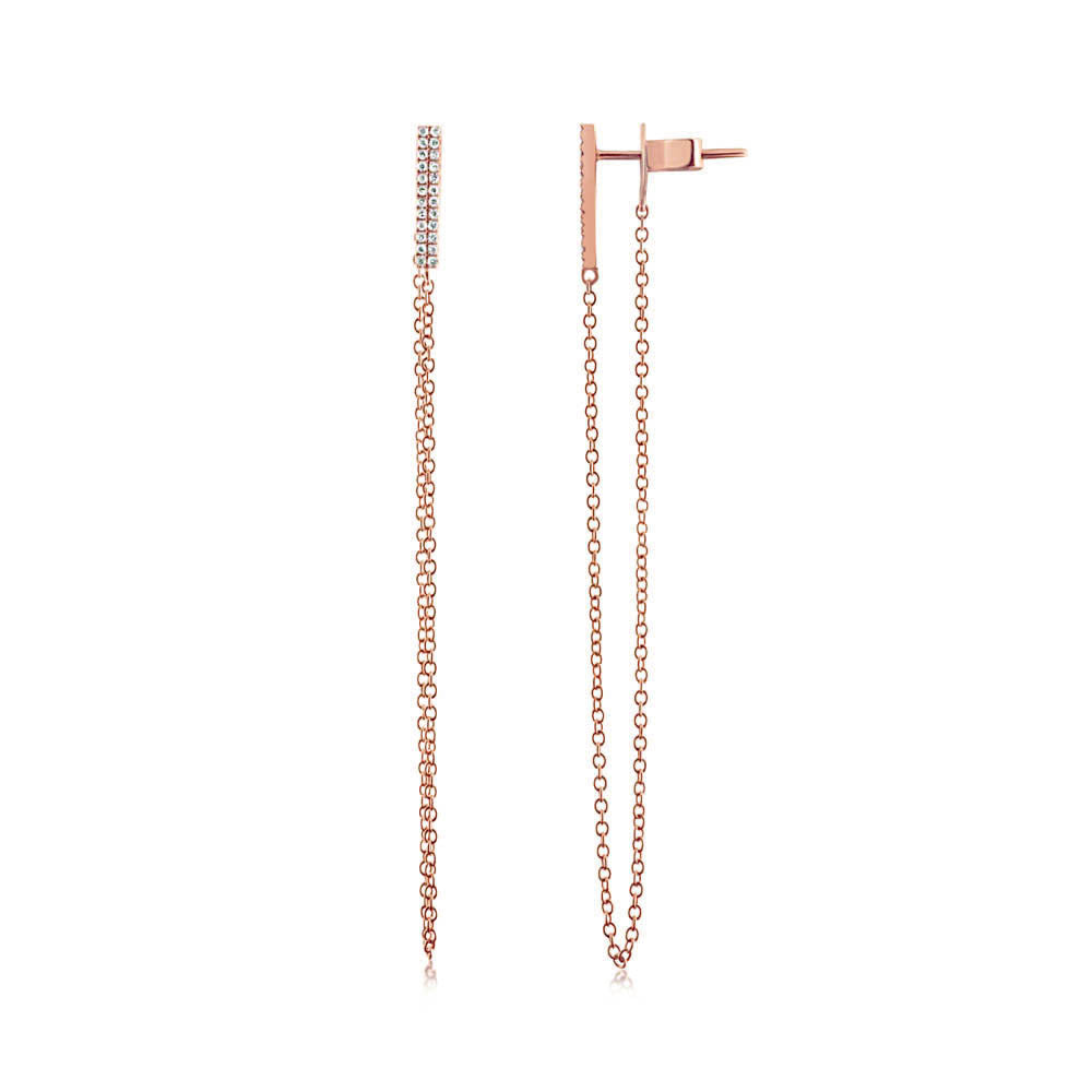 Diamond Bar Chain Earrings Rose Gold