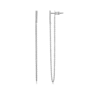 Diamond Bar Chain Earrings White Gold