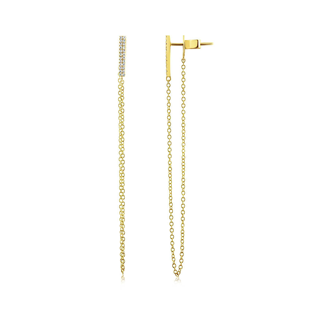 Diamond Bar Chain Earrings Yellow Gold
