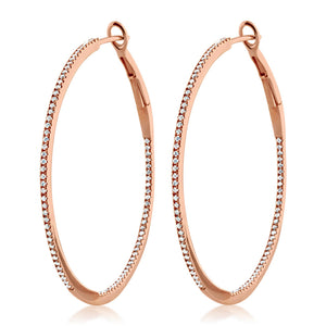Diamond Hoop Earrings Large Rose Gold