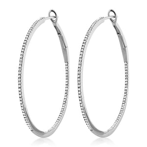 Diamond Hoop Earrings Large White Gold