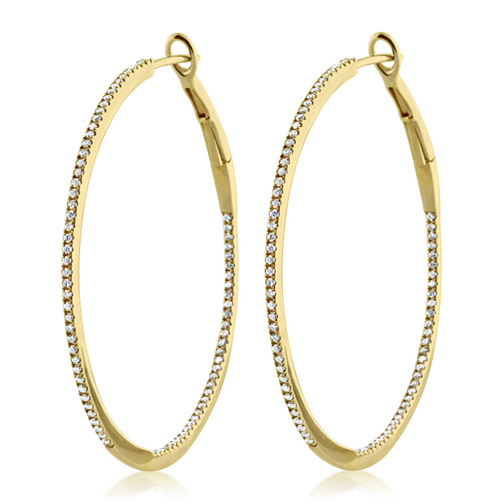 Diamond Hoop Earrings Large Yellow Gold