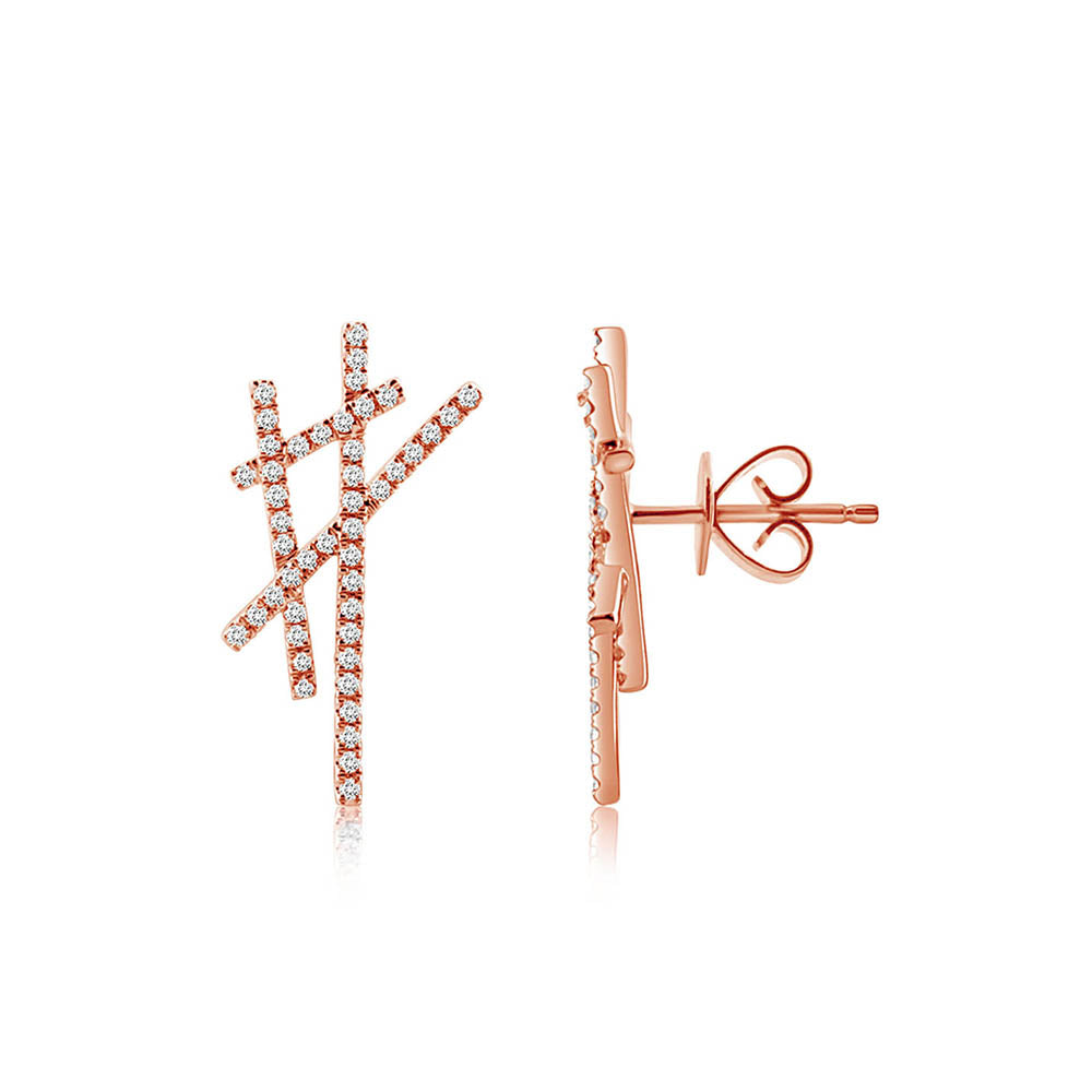 Diamond Criss Cross Earrings Rose Gold