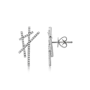 Diamond Criss Cross Earrings White Gold
