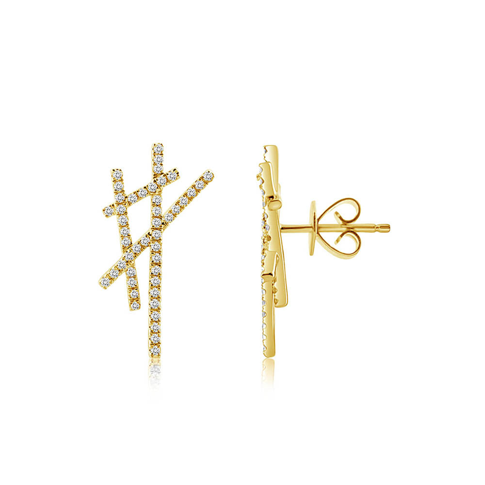 Diamond Criss Cross Earrings Yellow Gold