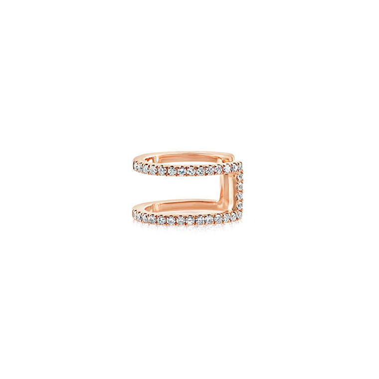 Diamond Double Row Ear Cuff Rose Gold
