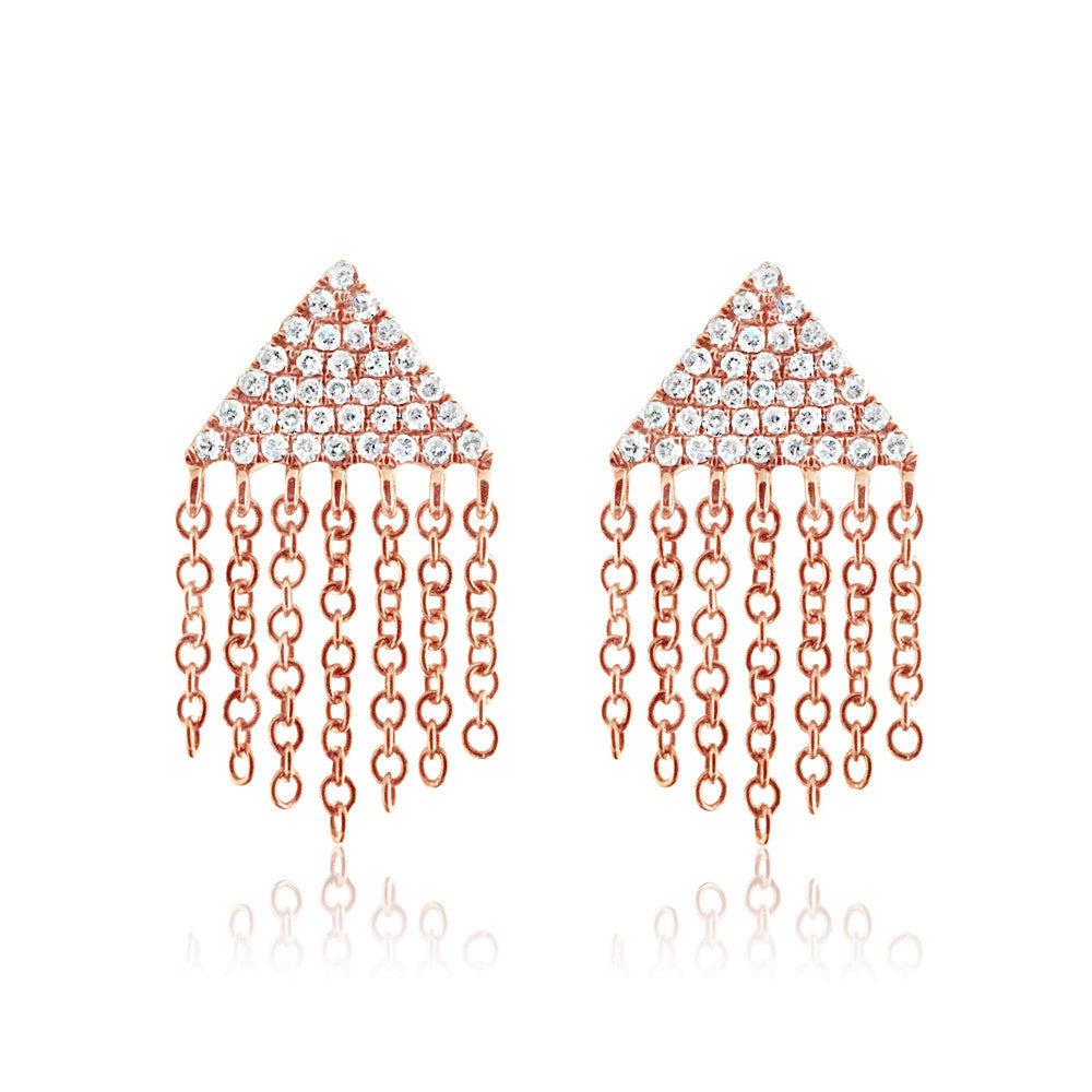Diamond Triangle Fringe Earrings Rose Gold