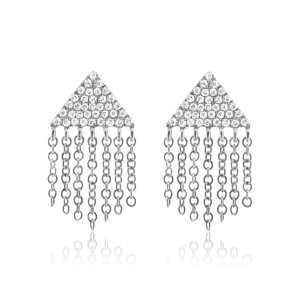 Diamond Triangle Fringe Earrings White Gold