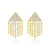 Diamond Triangle Fringe Earrings Yellow Gold