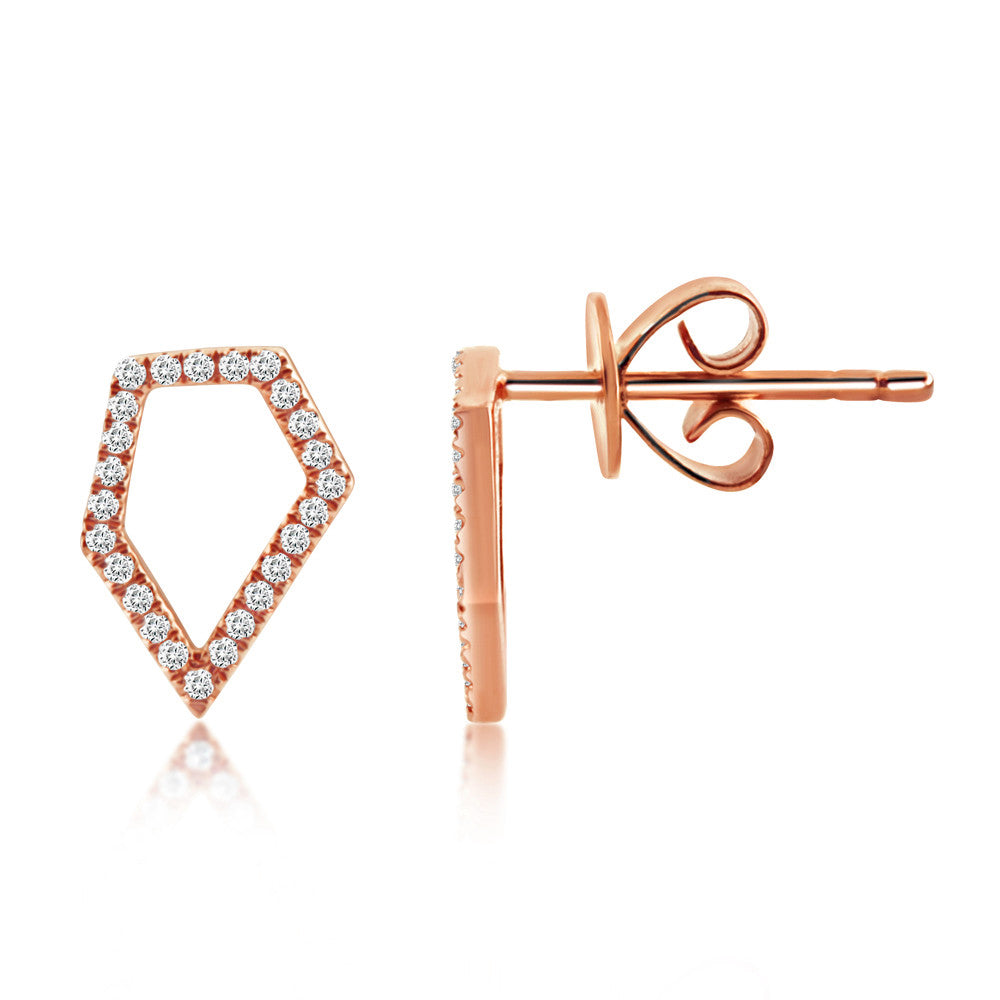 Diamond Pentagon Earrings Rose Gold