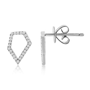 Diamond Pentagon Earrings White Gold
