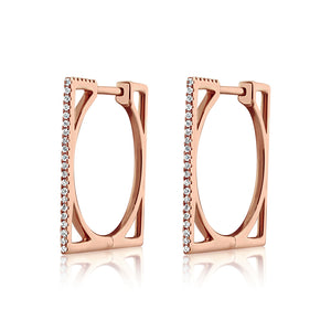 Diamond Square Hoop Earrings Rose Gold