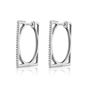 Diamond Square Hoop Earrings White Gold