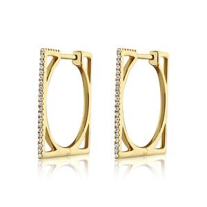 Diamond Square Hoop Earrings Yellow Gold