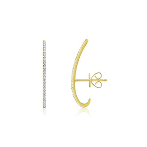 Diamond Bar Huggies Yellow Gold