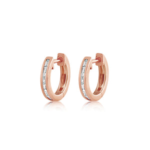 Baguette Diamond Huggie Earrings Rose Gold