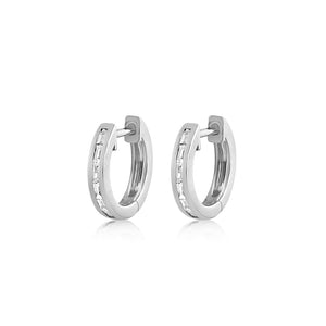 Baguette Diamond Huggie Earrings White Gold