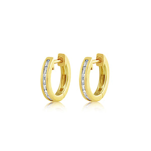 Baguette Diamond Huggie Earrings Yellow Gold