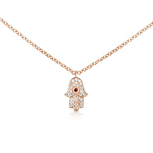 Ruby and Diamond Hamsa Necklace Rose Gold