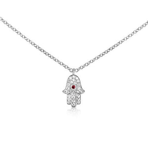 Ruby and Diamond Hamsa Necklace White Gold