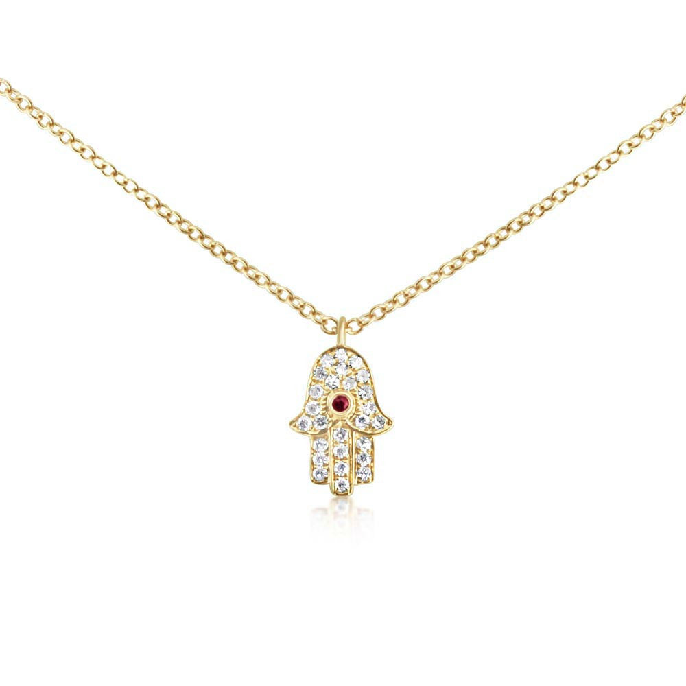Ruby and Diamond Hamsa Necklace Yellow Gold