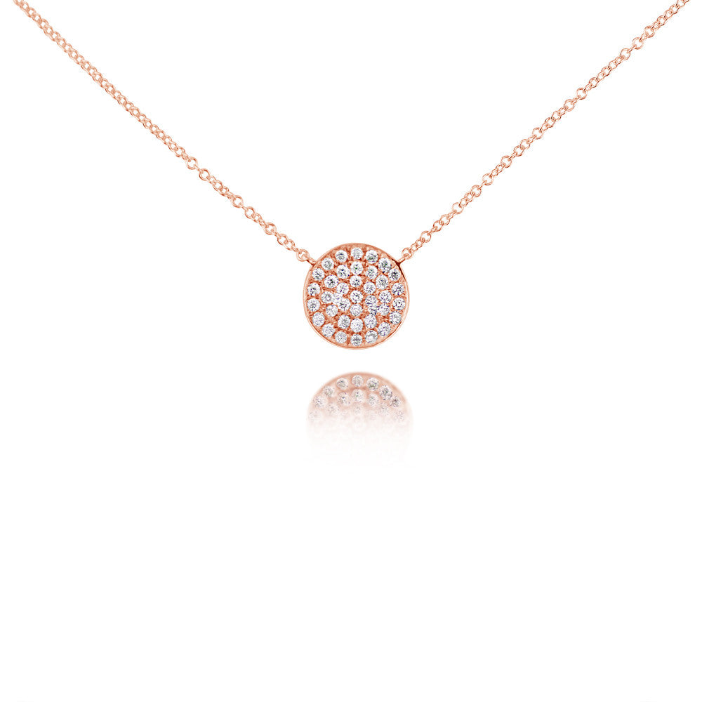 Diamond Curved Disc Necklace Rose Gold