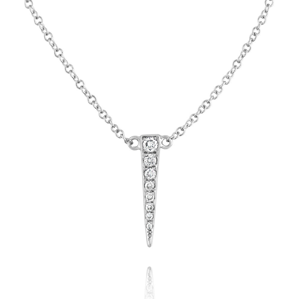 Small Diamond Dagger Necklace White Gold