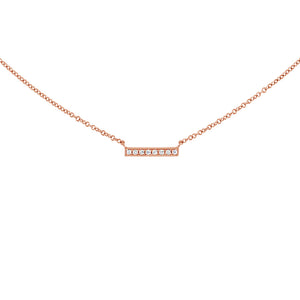 Small Diamond Bar Necklace Rose Gold
