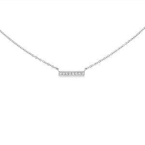 Small Diamond Bar Necklace White Gold