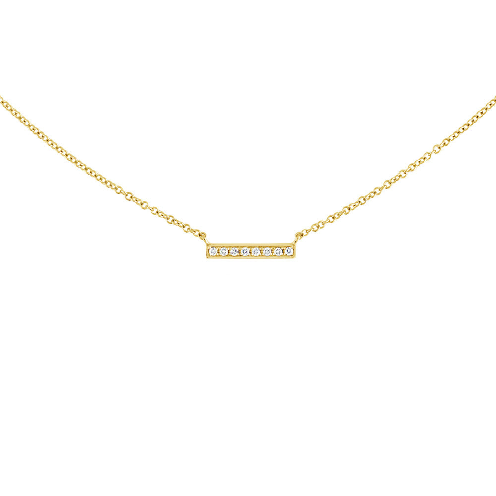 Small Diamond Bar Necklace Yellow Gold