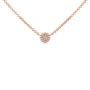 Mini Diamond Disc Choker Necklace Rose Gold