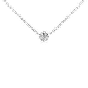 Mini Diamond Disc Necklace White Gold