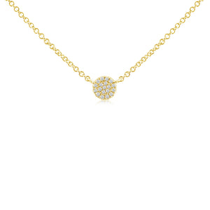 Mini Diamond Disc Necklace Yellow Gold