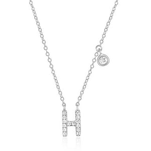 Diamond Initial Necklace White Gold