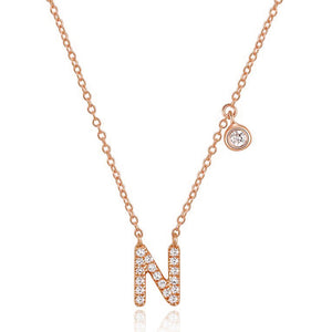Diamond Initial Necklace Rose Gold