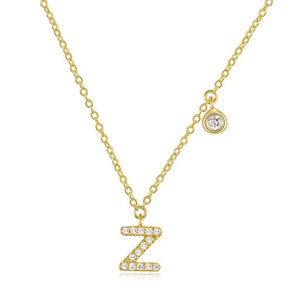 Diamond Initial Necklace Yellow Gold