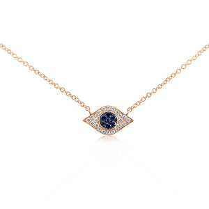 Diamond and Sapphire Evil Eye Necklace Rose Gold